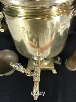 Imperial Russian Samovar By Batashev Award Stamped 1870 to 1882 Brass Antique