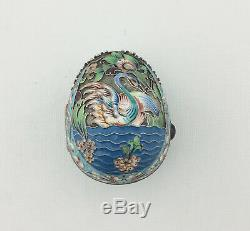 Imperial Russian Silver Gilt Cloisonne Polychrome Enamel Egg