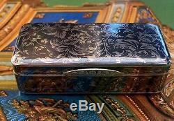 Imperial Russian Silver Niello 84 Snuff Box, Circa 19th Century, Moscow