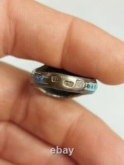 Imperial Russian Silver Ring Enamel Sapphire Memento Mori Skull Doctors Poison