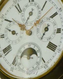 Imperial Russian officer's gunmetal&skull enamel case Moon/Calendar pocket watch