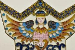 Important antique Imperial Russian silver&Cloisonne enamel Salt Throne. 170g. Rare