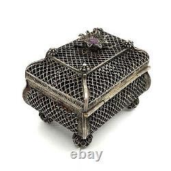 Judaica Antique Imperial Russian Silver 91 Amethyst Spice Filigree Box. 66.8gm