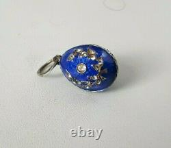 K. FABERGE design Russian Imperial 84 Silver Pendant Egg in Enamel with Crystals