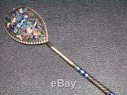 Large 7 Inch Spoon Cloisonne Enamel Silver 84 Russian Imperial Klingert Antique