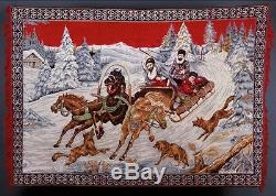 Large Antique Vintage Imperial Russian Tapestry / Rug / Carpet / Mural Troika
