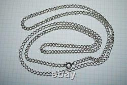 Long Antique Russian Imperial Sterling Silver 84 Jewelry Chain Necklace 30.84 gr