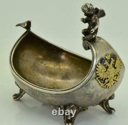 MUSEUM Imperial Russian Faberge award silver&enamel ritual Kovsh ladle c1894