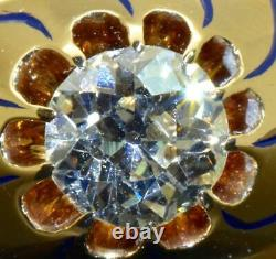 One of a kind antique Imperial Russian Faberge 14k gold, enamel&1ct Diamond ring