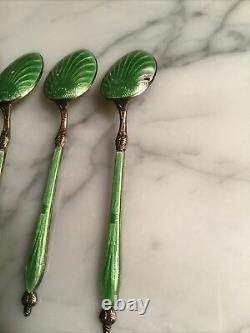 Original Russian Guilloche Enamel 4 Spoons Silver 84 Imperial Antique Cloisonne