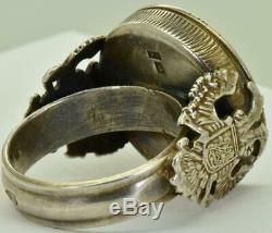 Outstanding 19th C. Antique Imperial Russian 84 silver&Mother-of-Pearl Cameo ring