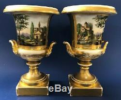 Pair of Antique mid-19C Imperial Russian Porcelain Vases/Urns
