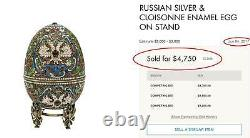RARE RUSSIAN IMPERIAL SILVER and ENAMEL LARGE EGG