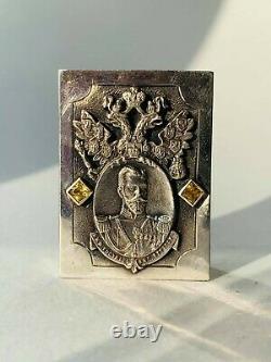 Rar Vintage Imperial Russian Sterling Silver 84 Matchstick Case Eagle Nikolai II