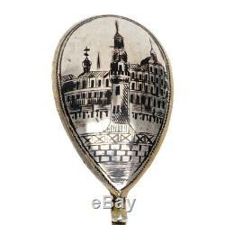 Rare Antique Imperial Russian Silver 84 Niello Gold Wash Spoon Kremlin Scene RU