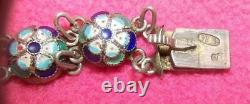 Rare Antique Imperial Russian Sterling Silver 84 Enamel Jewelry Bracelet Signed