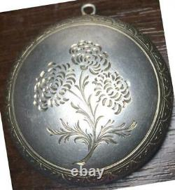 Rare Antique Imperial Russian Sterling Silver 84 Pendant Etched Guilloche Enamel