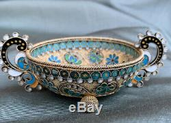 Rare Antique Imperial russian 88 silver enamel two handles dish firm Sazikov