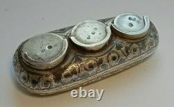 Rare Antique Silver 84 Imperial Russian Coin Box Caucasus Engraved Kavkaz