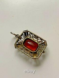 Rare FABERGE design IMPERIAL Russian 88 Silver Brooch with Stone in box