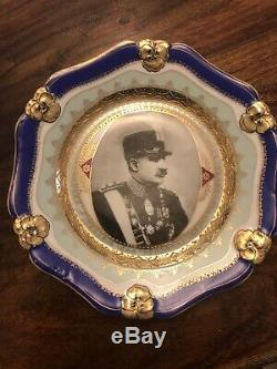 Rare Imperial portrait Reza Shah Pahlavi, Russian Porcelain Two Plates