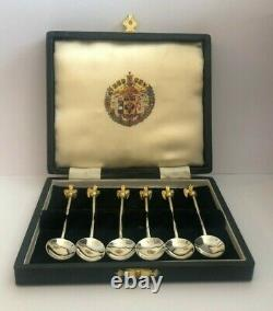 Rare Russian Imperial Silver 88 KF/AT Author Faberge Gilded & Enamel Spoon Set