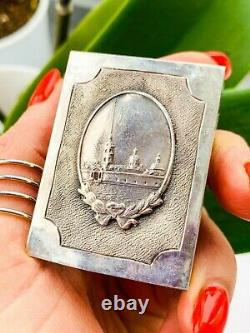 Rare Vintage Imperial Russian Sterling Silver 84 Matchstick Case Signed 36.5 gr