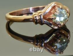 Rare antique Imperial Russian 14k rose gold & 0.5ct Rose cut Diamond ring c1890