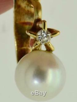 Rare antique Imperial Russian 18k gold, Diamonds&sea pearls earrings. Original box