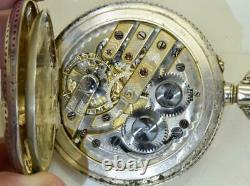 Rare antique Imperial Russian full hunter engraved silver pocket watch c1890's