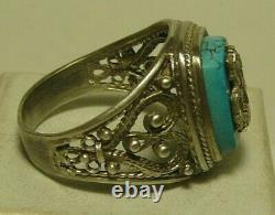 Ring Turquoise 84 Silver Imperial Russian 1907 George the Victorious