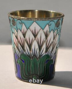 Royal Russian Soviet Vodka Beaker Cups Shots Silver Enamel Kovsh Goblet Chalice