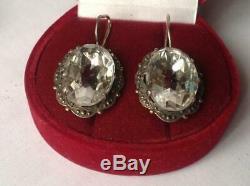 Royal Vintage Antique Soviet USSR Russian Earrings Stud Ear Sterling Silver 875