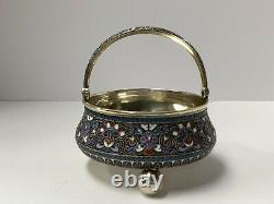 Russian Enamel Silver Sugar Basket. 84 Silver Moscow 1892 Antique Imperial