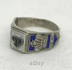 Russian Imperial 84 Silver Enamel Ring