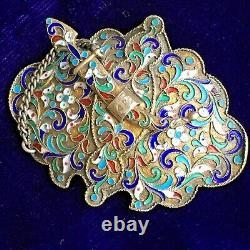Russian Imperial 84 Silver Gilt Cloisonné Enamel Belt Buckle Brooch