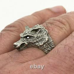 Russian Imperial 84 Silver ring with WOLF and Ruby
