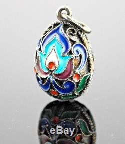 Russian Imperial 960 Silver Gilt Enamel Egg Charm Pendant