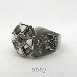 Russian Imperial Enamel 84 Silver ring with St. George Cross