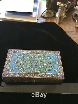 Russian Imperial Enamel table cigarette cigar box