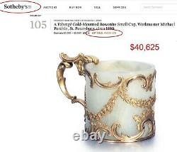 Russian Imperial Gold Jade Cup, Boxed