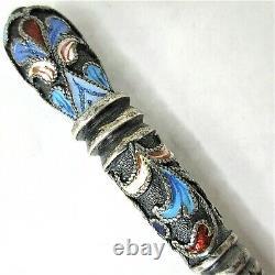 Russian Imperial Klingert Silver 84 Shaded Enamel Cloisonne Spoon Hallmark Large