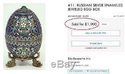 Russian Imperial Silver & Cloisonne Egg