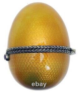 Russian Imperial Silver Guilloche Enamel Egg