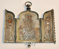 Russian Imperial Triptych Panagia Travel 84 Silver Icon Mather Kazan Jesus Cross