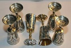 Russian Soviet Royal 875 Silver Cup Vodka Shots Goblet Chalice Kovsh Bowl Egg