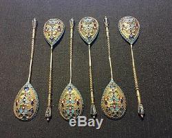 Set Of 6 Russian Imperial Silver 84 Enamel Spoons Hallmarked 107 Grams