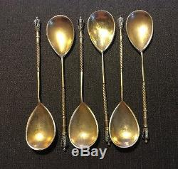 Set Of 6 Russian Imperial Silver 84 Enamel Spoons Hallmarked 107 Grams