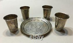 Set Russian Imperial Silver 84 Four Cups WithTray Total Weight 80 Grams Hallmarked
