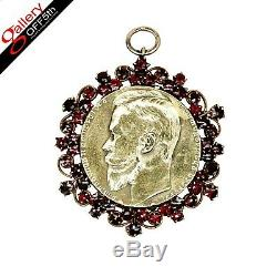 Tsar Nicholas II Antique Imperial Russian 14K Gold Pendant Military Jetton Medal